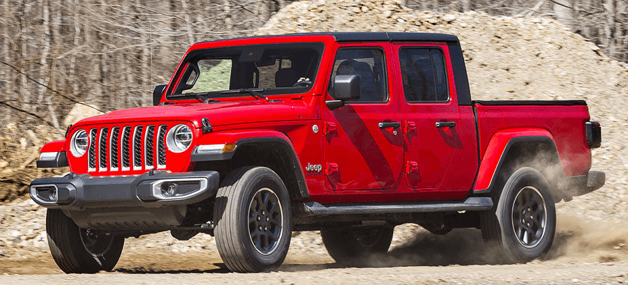 2020 Jeep Gladiator Calgary red in color